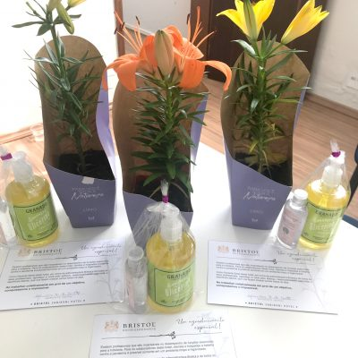 Kit com cartão e flor para presentear as colaboradoras do Bristol Zaniboni.